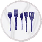 Blue Spoons- Art By Linda Woods Round Beach Towel