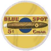 Blue Spot Cigars Round Beach Towel