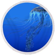 Blue Spotted Jellyfish Round Beach Towel