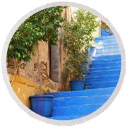Blue Stairs Round Beach Towel