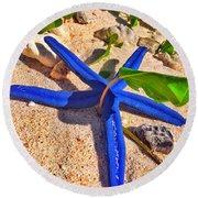 Blue Starfish Round Beach Towel