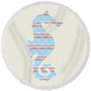 Blue Seahorse Art Round Beach Towel
