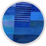 Blue Stripes 7 Round Beach Towel