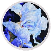 Blue Summer Iris Round Beach Towel