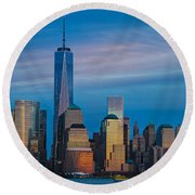 Blue Sunset At The World Trade Center Round Beach Towel