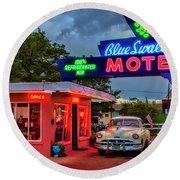 Blue Swallow Motel Round Beach Towel