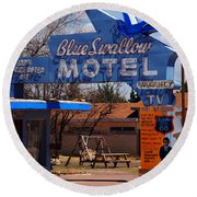 Blue Swallow Motel On Route 66 Round Beach Towel