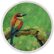 Blue Tailed Bee Eater Round Beach Towel
