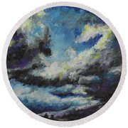 Blue Tempest Round Beach Towel