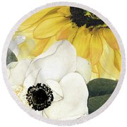 Blue Then Yellow II Round Beach Towel