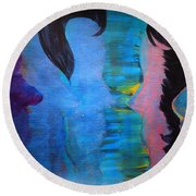 Blue Thoughts Round Beach Towel