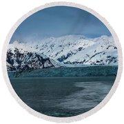 Blue Tidewater Glacier  Round Beach Towel