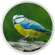Blue Tit Bird Round Beach Towel