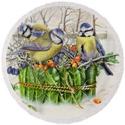 Blue Tits In Leaf Nest Round Beach Towel