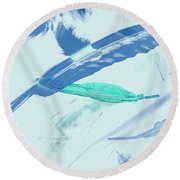 Blue Toned Artistic Feather Abstract Round Beach Towel
