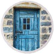 Blue Traditional Door Round Beach Towel