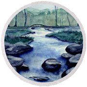 Blue Tranquility Round Beach Towel