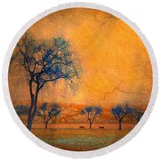 Blue Trees And Dreams Round Beach Towel