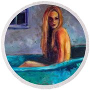 Blue Tub Study Round Beach Towel