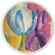Blue Tulip And Iris Abstract Round Beach Towel