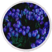 Blue Tulips Round Beach Towel