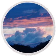 Blue Twilight Clouds Art Prints Mountain Pink Sunset Baslee Troutman Round Beach Towel