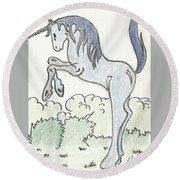 Blue Unicorn Round Beach Towel