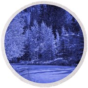 Blue Vail Round Beach Towel