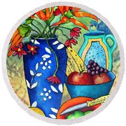 Blue Vase With Orange Flowers Round Beach Towel
