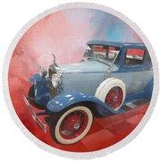 Blue Vintage Car Round Beach Towel