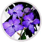 Blue Violet Orchids Round Beach Towel