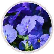 Blue Violets Round Beach Towel