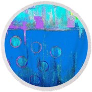 Blue Water And Sky Abstract Round Beach Towel