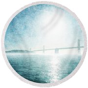 Blue Water Bridge Round Beach Towel