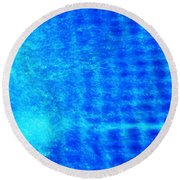 Blue Water Grid Abstract Round Beach Towel