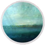 Blue Water Round Beach Towel by KR Moehr