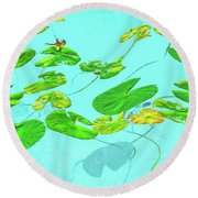 Blue Water Lilies Round Beach Towel