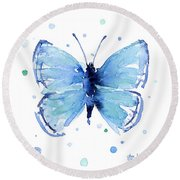 Blue Watercolor Butterfly Round Beach Towel