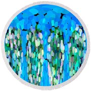 Blue Waterfalls And Teardrops Round Beach Towel
