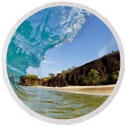 Blue Wave - Makena Beach Round Beach Towel