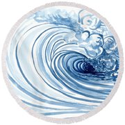 Blue Wave Modern Loose Curling Wave Round Beach Towel