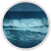 Blue Waves - Jersey Shore Round Beach Towel by Angie Tirado