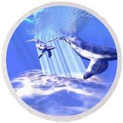 Blue Whales Round Beach Towel