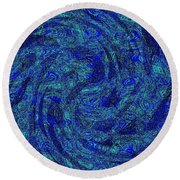 Blue Whirl Wind In The Sky Round Beach Towel
