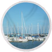 Blue White And Blue Round Beach Towel