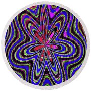 Blue White And Red Abstract #2944e2c Round Beach Towel