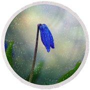 Blue Wild Flower Round Beach Towel
