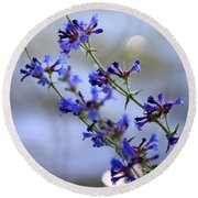 Blue Wildflowers Over Rimrock Lake Round Beach Towel