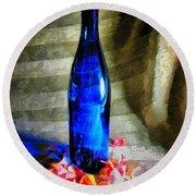 Blue Wine Bottle Round Beach Towel