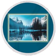 Blue Winter Fantasy. L A With Decorative Ornate Printed Frame. Round Beach Towel